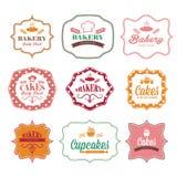 etiquetas retras del logotipo de la panadería del vintage Foto de archivo libre de regalías