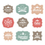 etiquetas retras del logotipo de la panadería del vintage Imágenes de archivo libres de regalías