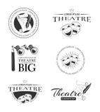Etiquetas retras, emblemas, insignias y logotipo del entretenimiento del teatro del vector temporario del funcionamiento Fotografía de archivo libre de regalías