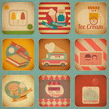 Etiquetas retros do gelado Fotografia de Stock Royalty Free