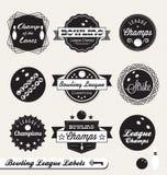 Etiquetas retros e etiquetas da liga de bowling Fotografia de Stock Royalty Free