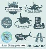Etiquetas retros e etiquetas do mergulho autónomo Fotografia de Stock Royalty Free