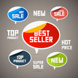 Etiquetas retros, etiquetas. O melhor vendedor, novo… ilustração do vetor