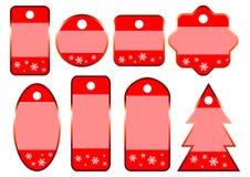 8 etiquetas rojas de la venta de la Navidad del invierno Fotos de archivo