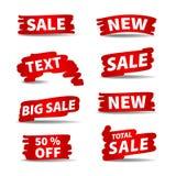 Etiquetas rojas de la venta del vector Foto de archivo