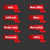 Etiquetas rojas de la venta para el sitio web Fotografía de archivo