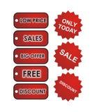 Etiquetas rojas de las ventas Fotografía de archivo