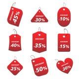 Etiquetas rojas - descuento Imágenes de archivo libres de regalías