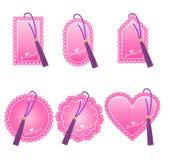 Etiquetas románticas para el día del ` s de la tarjeta del día de San Valentín Foto de archivo