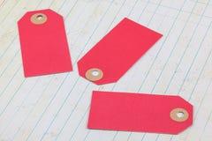 Etiquetas rosadas de la cartulina Fotos de archivo libres de regalías