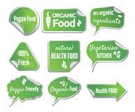 Etiquetas saudáveis do alimento ajustadas Imagens de Stock Royalty Free