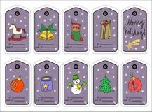 Etiquetas, stikers y etiquetas del regalo de la Navidad Vector ilustración del vector