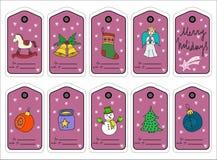 Etiquetas, stikers y etiquetas del regalo de la Navidad Vector libre illustration