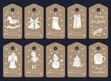 Etiquetas, stikers y etiquetas del regalo de la Navidad Vector stock de ilustración