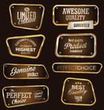 Etiquetas superiores do ouro e do marrom da qualidade Foto de Stock