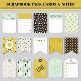 Etiquetas, tarjetas y notas del libro de recuerdos - para el cumpleaños ilustración del vector