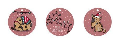 Etiquetas tiradas mão da garatuja do Natal e do ano novo com cão Imagens de Stock Royalty Free