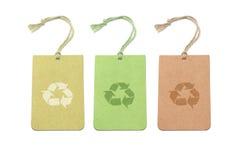Etiquetas tricolores con el reciclaje de símbolos Fotografía de archivo