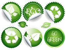 Etiquetas verdes Imagens de Stock