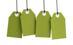 Etiquetas verdes fotos de stock