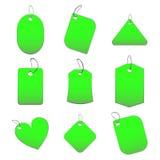 Etiquetas verdes Foto de archivo