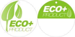 Etiquetas verdes de Eco+ fotos de stock royalty free