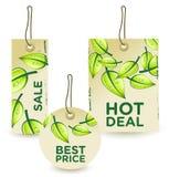 Etiquetas verdes de la venta fijadas Imagenes de archivo
