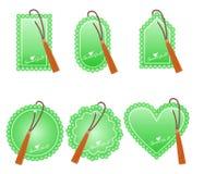 Etiquetas verdes románticas para el día del ` s de la tarjeta del día de San Valentín Foto de archivo