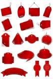 Etiquetas vermelhas ajustadas Fotografia de Stock
