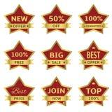 Etiquetas vermelhas das estrelas Fotografia de Stock Royalty Free