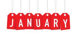 Etiquetas vermelhas de janeiro ilustração do vetor