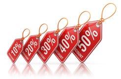 Etiquetas vermelhas do preço com dos por cento da venda ilustração 3D fora - Fotografia de Stock Royalty Free