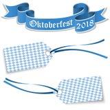 etiquetas y bandera para Oktoberfest 2018 Imagen de archivo libre de regalías