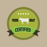 Etiquetas y elementos del diseño de la carne fresca Fotografía de archivo