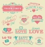 Etiquetas y emblemas del día de tarjeta del día de San Valentín Foto de archivo libre de regalías