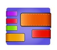 Etiquetas y escrituras de la etiqueta coloridas en blanco de cuero Foto de archivo libre de regalías