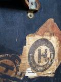 Etiquetas y escrituras de la etiqueta de bagaje del recorrido Fotos de archivo libres de regalías