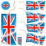 Etiquetas y etiqueta engomada modernas del indicador de Reino Unido Imagenes de archivo