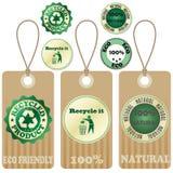 Etiquetas y etiquetas engomadas 3 de Eco Imagen de archivo