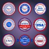 Etiquetas y etiquetas engomadas de la venta en Made en los E.E.U.U. Fotos de archivo