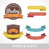 Etiquetas y etiquetas engomadas del estilo de la panadería Imágenes de archivo libres de regalías