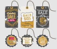 Etiquetas y etiquetas felices de la venta del día de tarjeta del día de San Valentín Fotografía de archivo libre de regalías