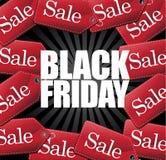 Etiquetas y explosión de la venta de Black Friday Imagen de archivo libre de regalías
