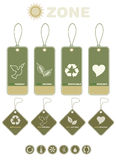 Etiquetas y símbolos del producto de la ecología Imágenes de archivo libres de regalías