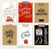Etiquetas y tarjetas del regalo de la Navidad con caligrafía Imágenes de archivo libres de regalías
