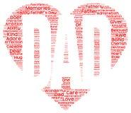 Etiquete a nuvem do dia de pai na forma do coração vermelho que inscree o PAIZINHO Imagem de Stock