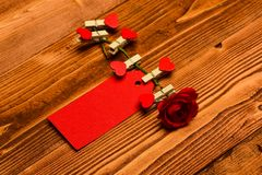 Etiquete para as felicitações fixadas à flor, copie o espaço Floresça com etiqueta ou o cartão vazio no fundo de madeira congratu Imagens de Stock