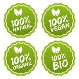 Etiquete uma coleção do produto orgânico de 100% e do alimento natural da qualidade superior Ilustração do Vetor