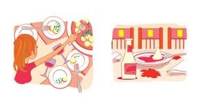 etiquette Maneiras pobres na tabela Irregularidade na menina da tabela com uma forquilha Ketchup derramada ilustração royalty free