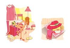 etiquette A menina está mudando sapatas no corredor Uma bandeja com café, um chapéu, um scharf e para fazer crochê ilustração royalty free